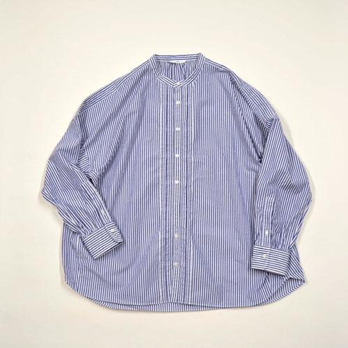 綿ストライプ タイプライター ドルマンファーマーシャツ